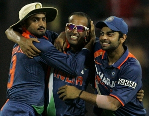 Bhajji,yushuf pathan and virat kohli